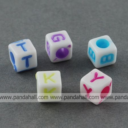 Colorful Acrylic Beads, Craft Style, Cube, Letter, Mixed Color, about 6mm long, 6mm wide, 6mm thick(China (Mainland))