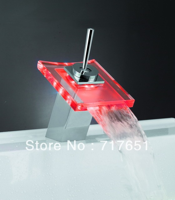 Kitchen Bathroom Basin LED Light Glass Waterfall Faucet With 3 Colors Changing
