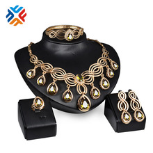 Crystal Jewelry Set 3 Color Gold Plated Fashion Party Wedding Bridal Rhinestone Necklace Earring Sets Bangle Ring Accessories(China (Mainland))