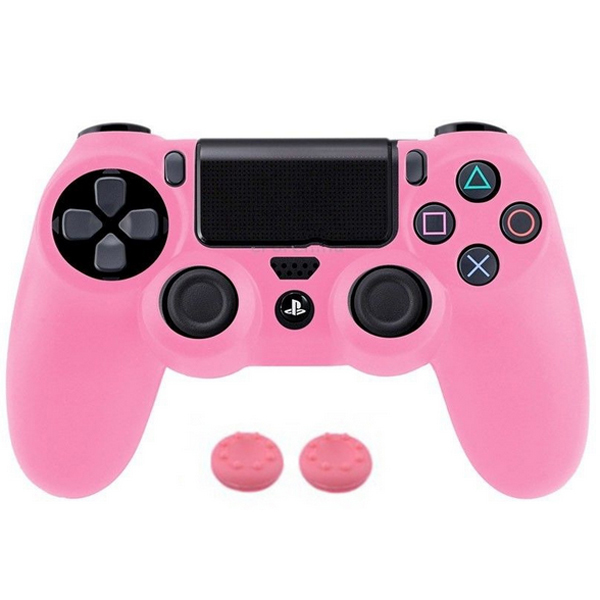 Soft Silicone Rubber Gel Skin Case Cover Sony PlayStation 4 PS4 Controller + Thumbstick Sticker Joystick Pink - Mypleasure Trading Limited store
