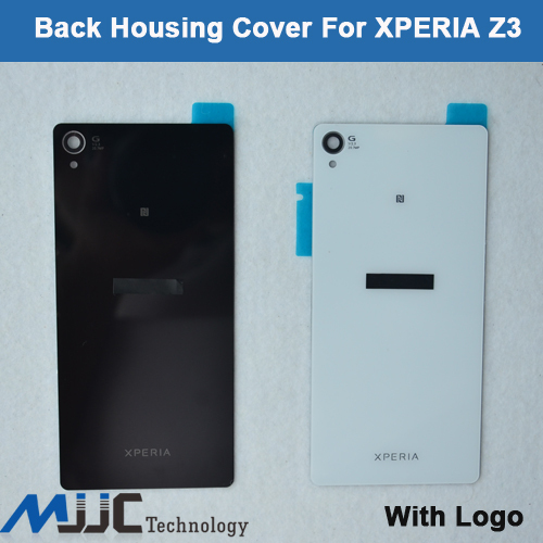 OEM Back Glass Housing Battery Back Door Cover Case For Sony Xperia Z3 Battery Cover Housing 5PCS/Lot Black White(China (Mainland))