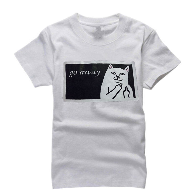 Go Away Cat Funny T Shirts Men Women Middle Finger Pocket Cat Tee Shirts Mens Hip