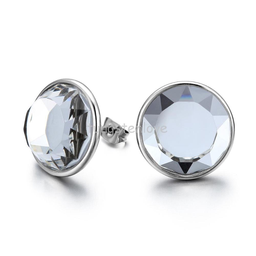 fashion glass stud earrings 316l