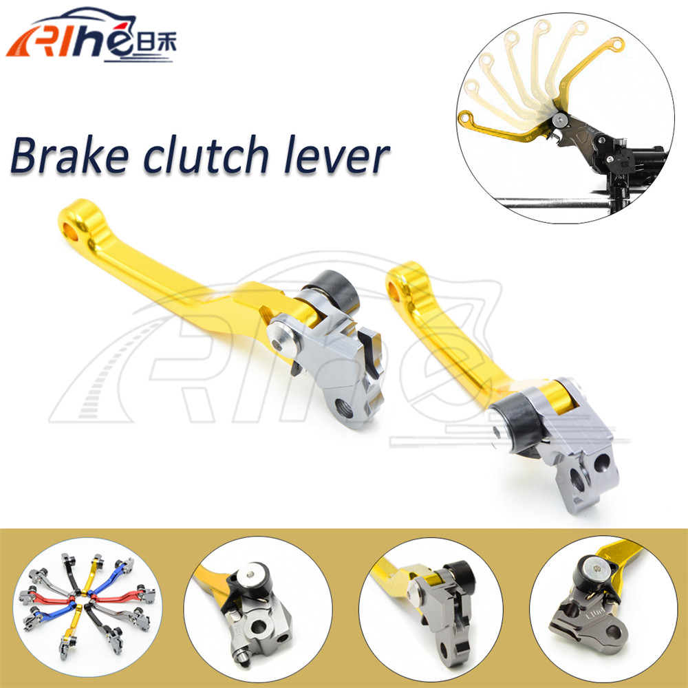 motorcycle cnc clutch brake lever golden dirt bike foldable brake clutch levers FOR KAWASAKI KX250F 05 06 07 08 09 10 2011 2012(China (Mainland))