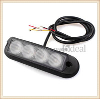 4W High Power 4 LED Waterproof Car Truck Emergency Strobe Flash Light Amber