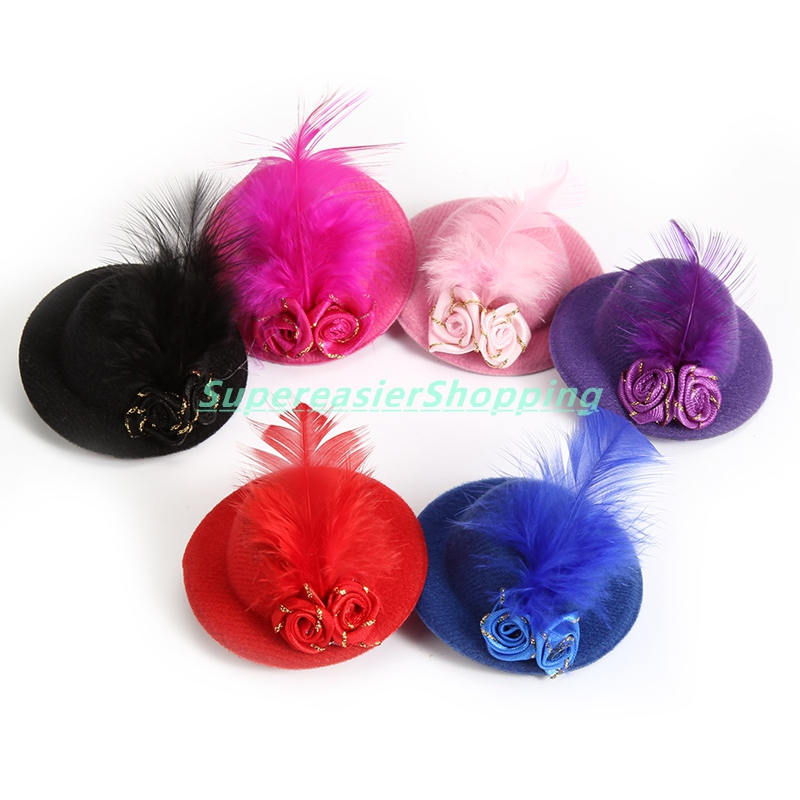 6pcs/lot Mini Hair Clip Fascinator Gold Line Rose Feather Hat Clip Party Hat Ball Top Cap Women Girls Headwear Hair Accessories(China (Mainland))