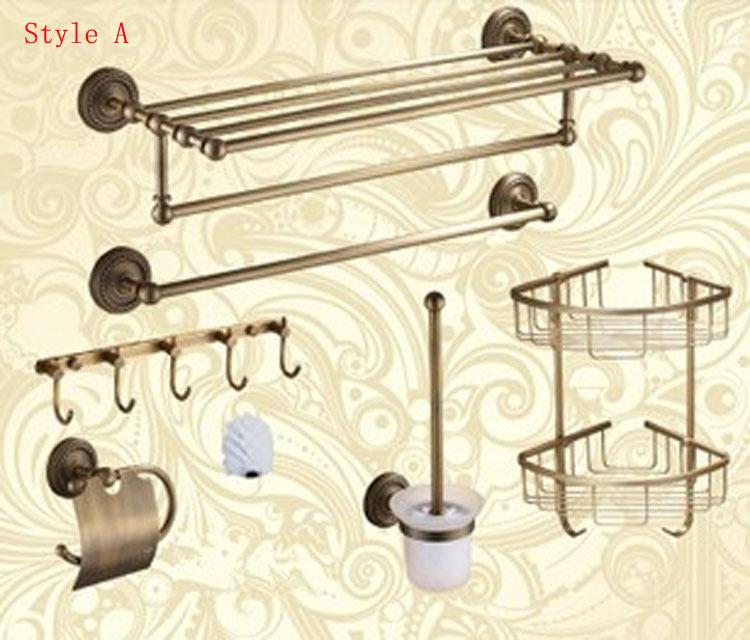 Classical Luxury Brass Bath Hardware Hanger Set Discount Package Towel Rack Paper Holder Shelf Hook Brush Bathroom Accessories(China (Mainland))