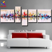 New York City Picture Canvas Painting 100% Handpainted American Style Modern Abstract Oil Painting On Canvas Wall Art Gift  Z011(China (Mainland))
