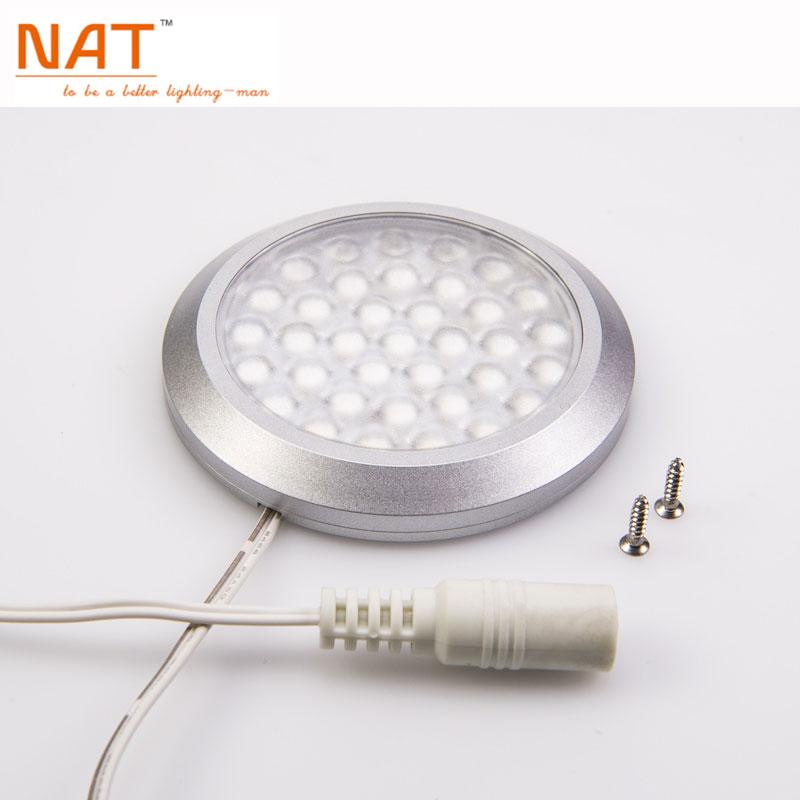 Indoor 70mm diameter Ultra-slim Round Surface LED Downlight 12V 3W aluminum Kitchen Under Cabinet Lighting 3W lamps (2pcs/Lot)(China (Mainland))