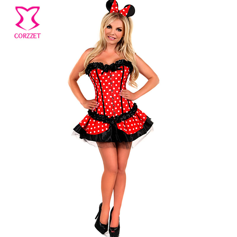 Lolita Red/White Polka Dot Sexy Fancy Corset Dress Mouse Mascot Anime Cosplay Costume Carnevale Woman Adult Costumes Halloween(China (Mainland))