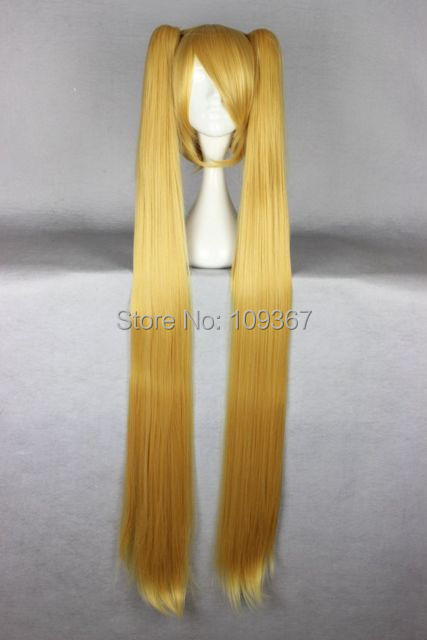 130cm long Vocaloid-Akita Neru blonde Cosplay Costume 2 Clip on Ponytail queen Wig Kanekalon Fiber no lace Hair full Wigs<br><br>Aliexpress