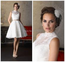 Romantic Vestido De Novia Curto Renda Sexy Backless Dress Bride Lace High Neck Bridal Gown A Line Short Wedding Dress Plus Size(China (Mainland))
