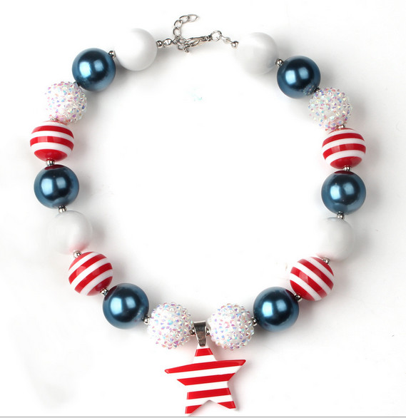 2pcs New design girls chunky bubble gum necklace 2016 fashion Pentagram diy necklace pendant beads toddler jewelry<br><br>Aliexpress