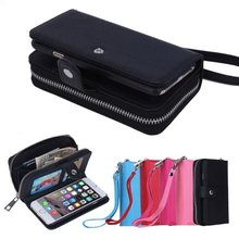 Fashion Leather Zipper Wallet Pouch Mobile Phone Bag Cover Case Accessories For iPhone 6 4.7 Cases Card Slot &Photo Frame Case(China (Mainland))