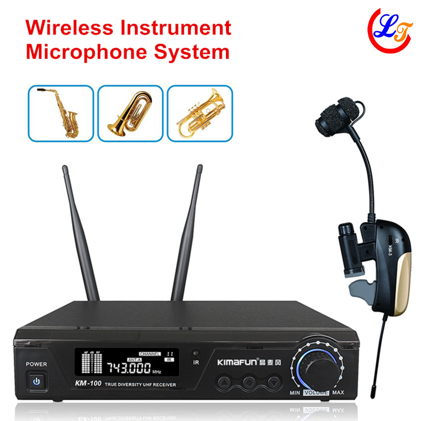 Professional UHF Wireless Instrument Saxophone Tuba Trumpet Microphone Lapel Transmitter with Receiver Max 100m Music Microfone(China (Mainland))