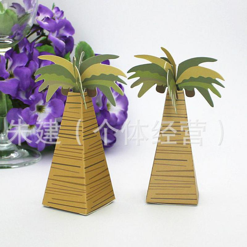 Wedding Favor Boxes For Chocolates : Wedding Supplies Favor coconut tree Triangular Candy Boxes Chocolates ...