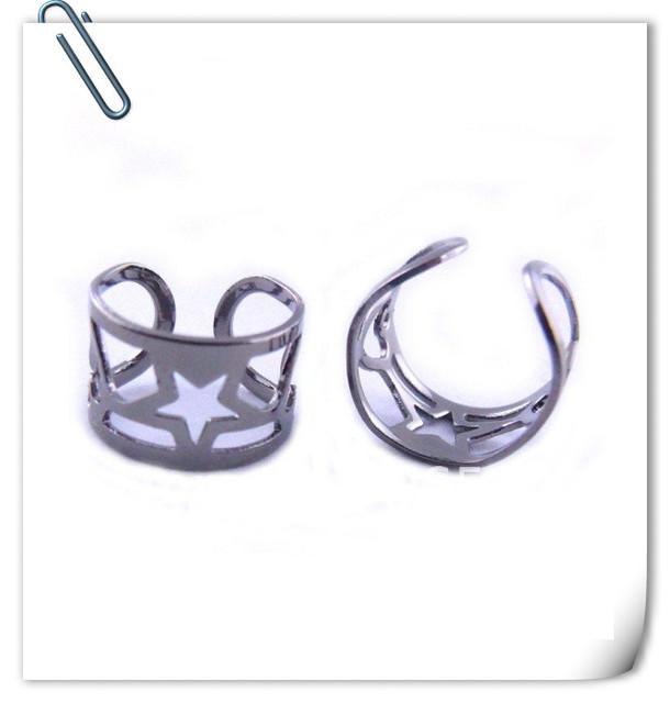 Free shipping (50pcs/lot) 10*6mm fashion black gun platded ear jewelry,hollow out black nickel ear cuffs wh151