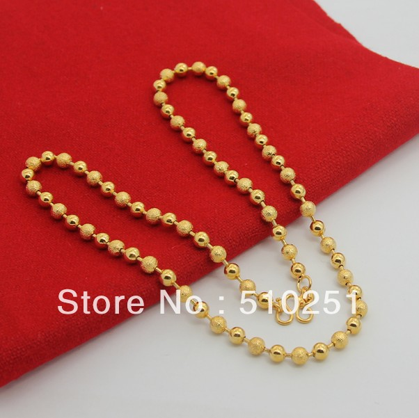 YGP-N-06 Free shipping 24k gold plated 5mm ball chain necklace for women men jewelry buddha beads(China (Mainland))
