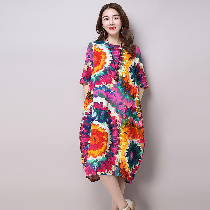 New Arrival 2016 Fashion National Style Vintage Print Loose Casual Long Dress Plus Size Women's Cotton Linen Summer Dresses H200(China (Mainland))