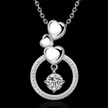 New listing high quality 925 sterling silver crystal necklace Free shipping