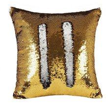 Mylb 1 шт 40*40 см двойной Цвет обратимая Русалка Подушка декорированная блестками блестящая подушка(China)