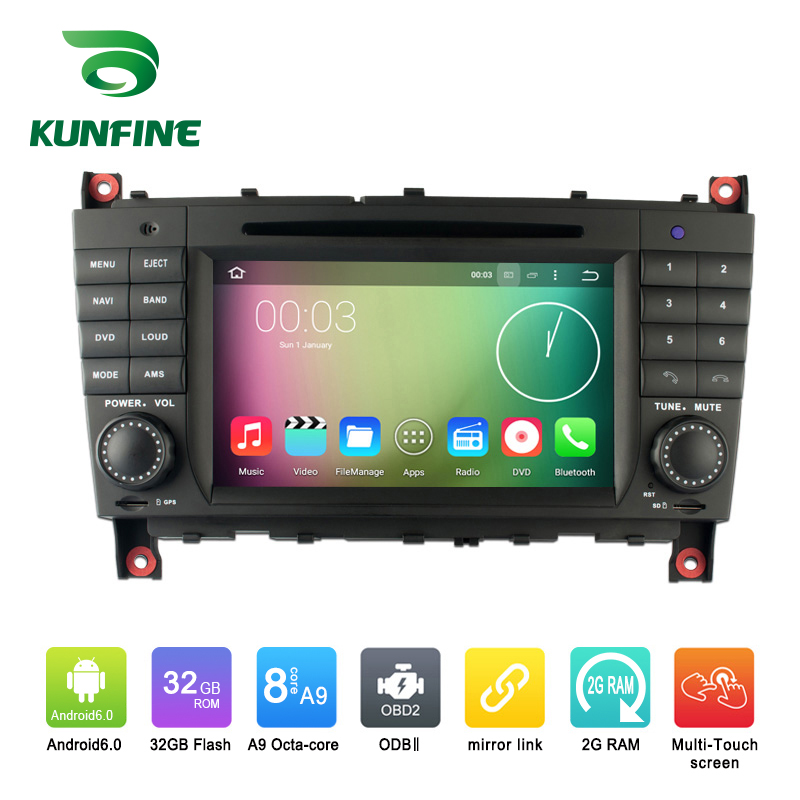 Octa Core 1024*600 Android 6.0 Car DVD GPS Navigation Multimedia Player Car Stereo for Benz C-Class W203 2004-2007 Radio WIFI