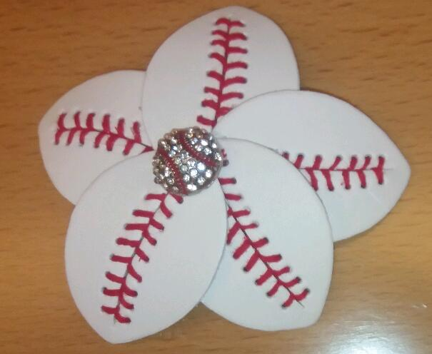 2016 Softball Flower style Softball Flower Accessory and hair clip, Softball hair bows, and baseball hairbow hair clips(China (Mainland))