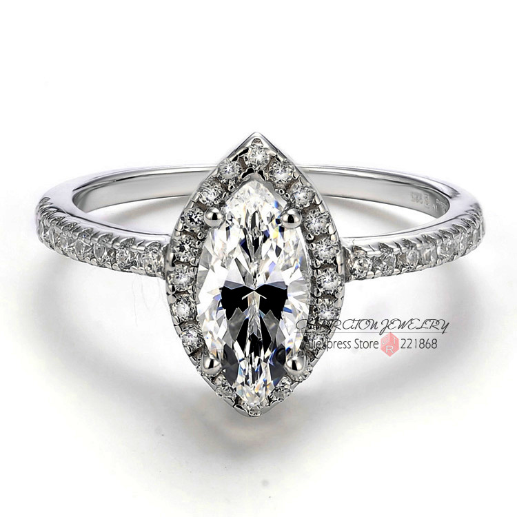 Big Marquise CZ Simulated Diamond 925 Sterling Silver Woman Engagement Wedding Ring