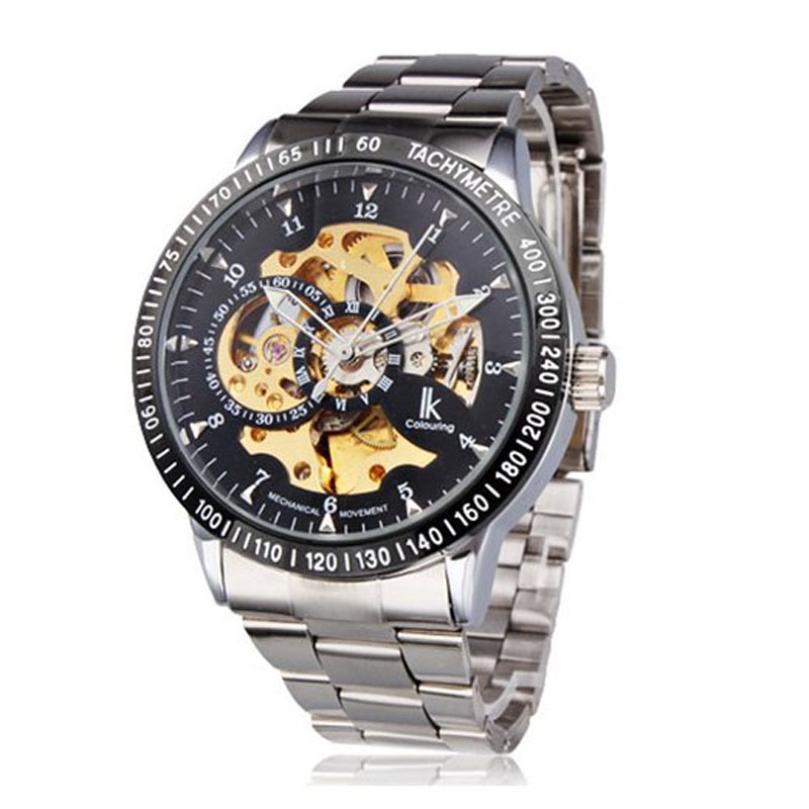New Design Mens Watch Mechanical Automatic Self-Winding Hollow Engraving free shipping <br><br>Aliexpress