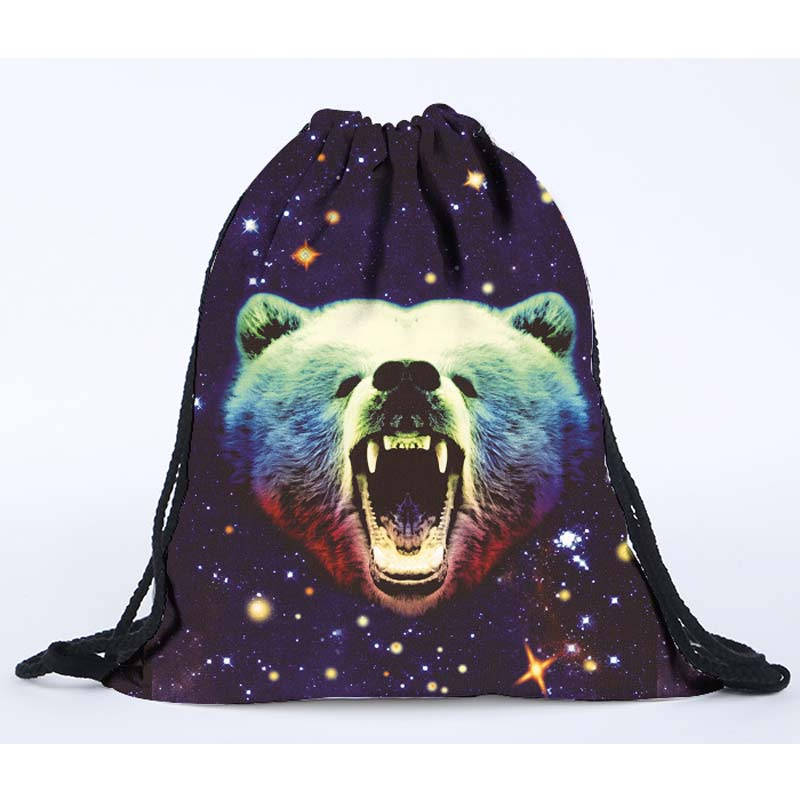 2016 hot sale 3D digital printing galaxy grizzly drawstring bag polyester drawstring backpack sport bag on sale(China (Mainland))