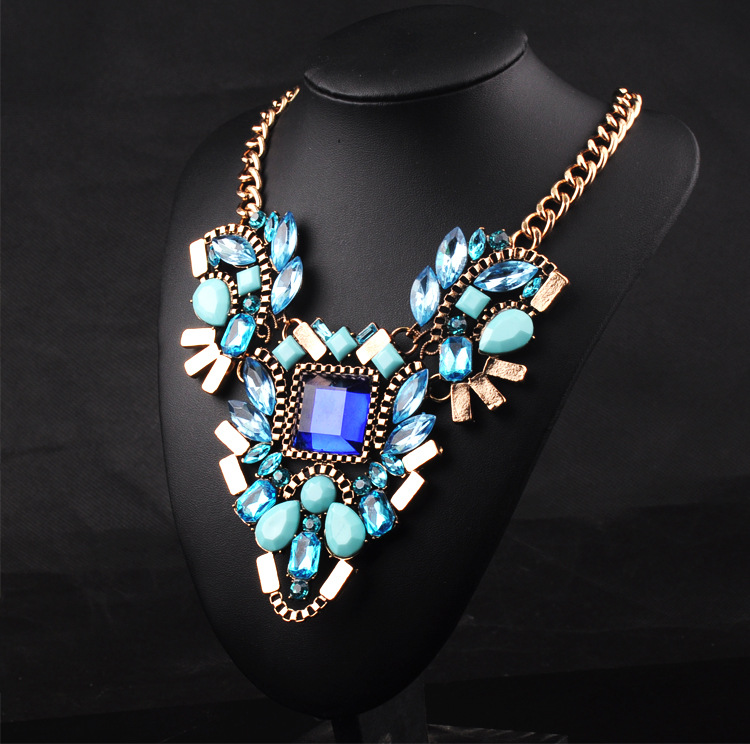 fashion crystal imitation diamond pendant necklace jewelry Chunky Necklace big blue flower choker necklace women  SNE150035(China (Mainland))