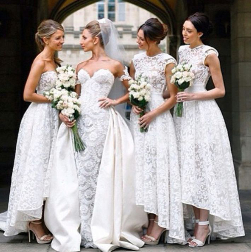 Church Wedding Two Styles High Low Bridesmaid Dress with Scoop Neckline A-line Floral Pattern Lace Bridesmaid Dress Long