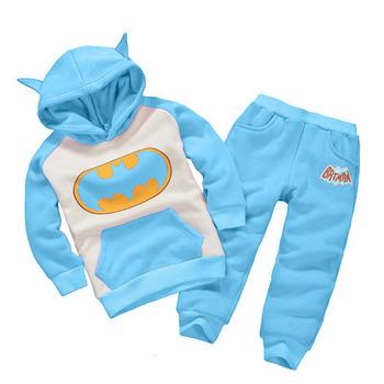 2016 New Children Outfits Tracksuit Batman Clothing Children Hoodies + Kids Pants 2 pcs kids Sport Suit Boys Clothing Set
