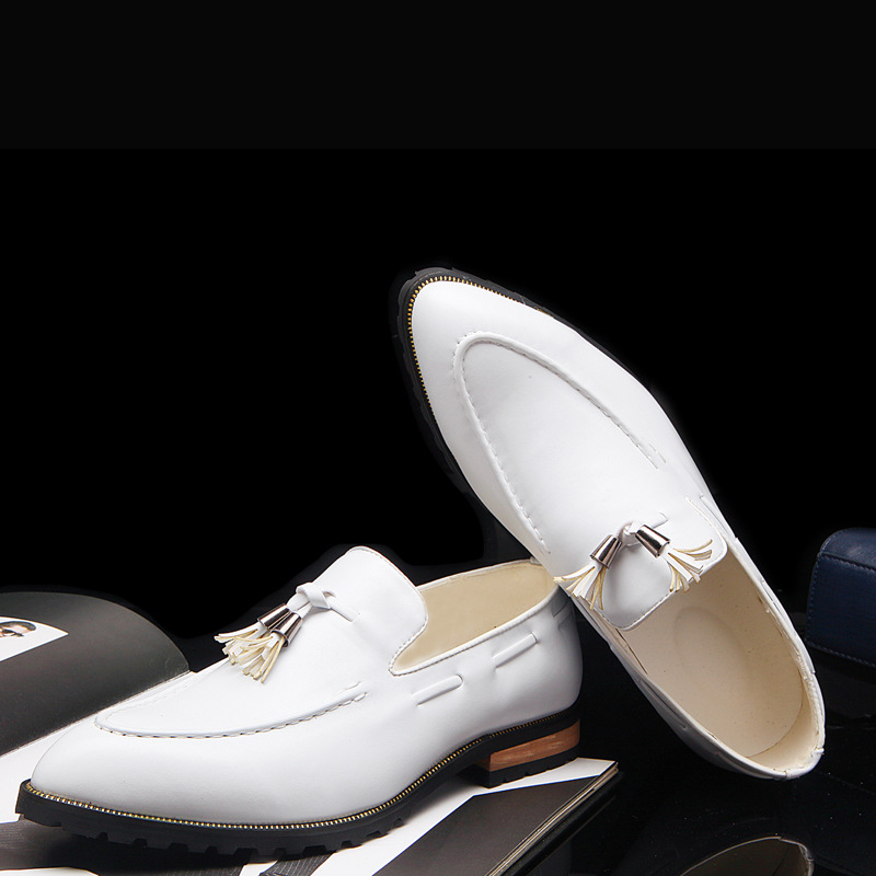 Tassel Pointed Toe Men Leather Shoes Moccasins Men Loafers Men Dress Shoes Slip On Formal Shoes Brown Black White(China (Mainland))