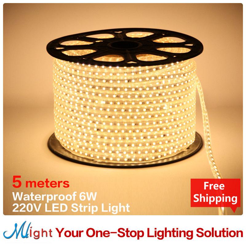5 meters 220V SMD5050 360pcs/lot, Flexible LED Strip Lights  6W waterproof  IP65 Living Room,Garden, decorative ROPE LIGHT(China (Mainland))