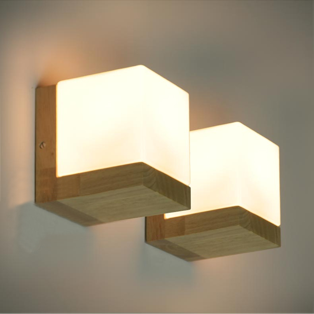 Modern oak wood cube sugar shade wall lamps bedroom - Luminaire chambre adulte ...