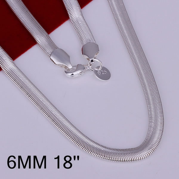 Wholesale 6mm 925 Sterling silver necklaces,soft Snake neck chain,fashion jewellery wholesale,925 silver,FreeshippingN193(China (Mainland))