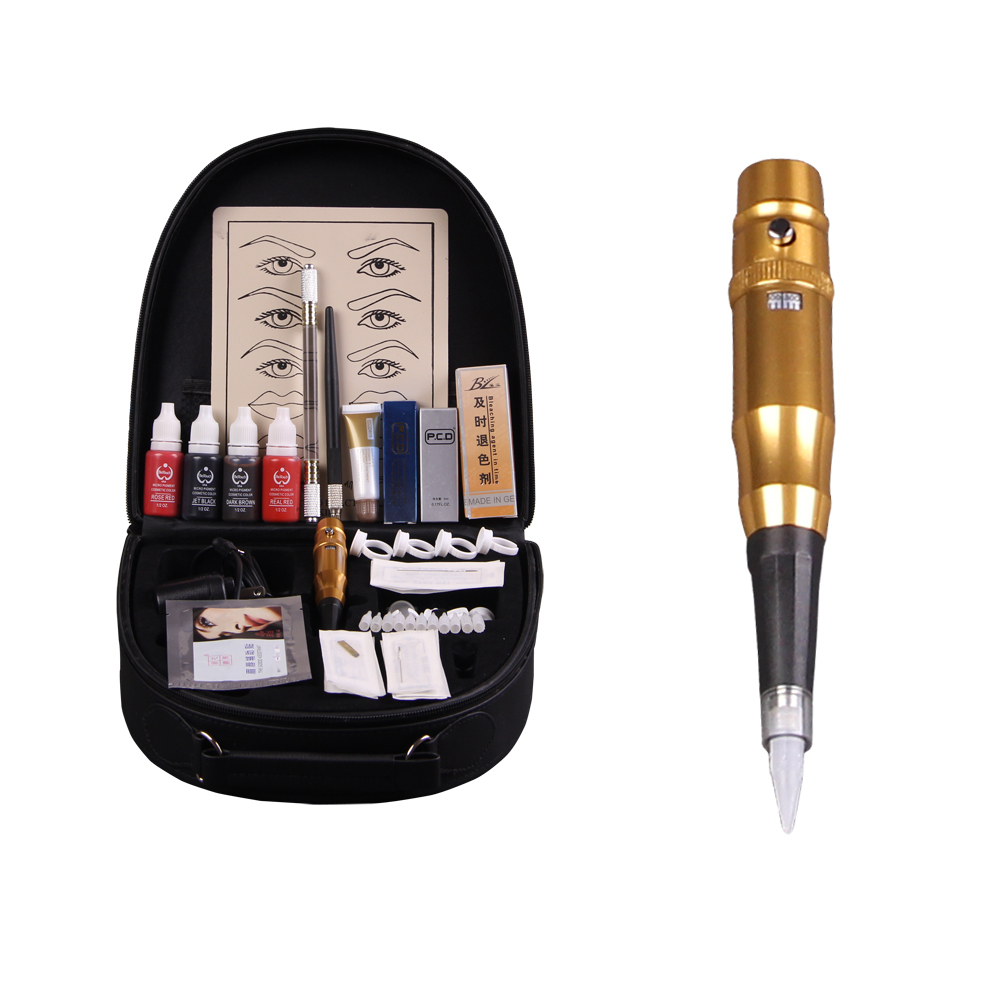 High-grade professional Permanent Makeup Kit 5color eyebrow tattoo pen machine set PCD lip repair protect senior trunk DSH-0072(China (Mainland))