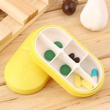 Yellow Pill Storage Box Portable Travel Emergency First Aid Kits 6-Slot Medical Pill Box Holder Medicine Drug Case(China (Mainland))