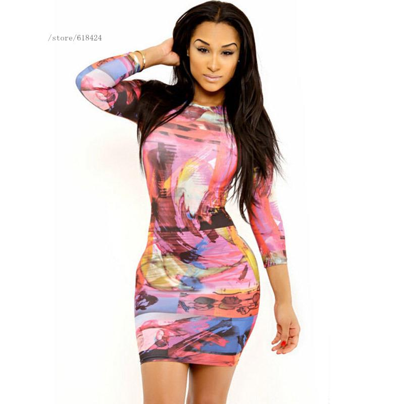 2016 New arrival summer european fashion women ladies long sleeve round neck photography digital printing party pencil dress(China (Mainland))