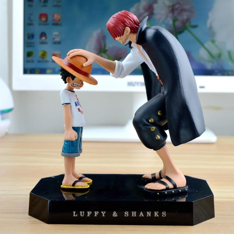One Piece action figures Anime Straw Hat Luffy Shanks red hair ornaments gift doll toys 17.5cm child luffy models pvc collection(China (Mainland))
