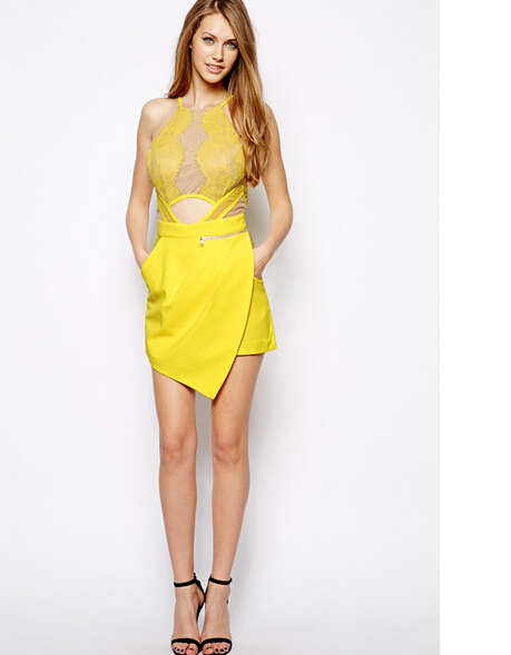 2014 new dress fashion designed short dress free shipping for Three floor yellow dress
