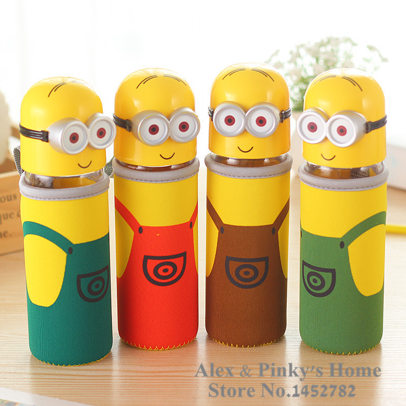 Small Yellow People Water Glass Bottle Lovely Student Drinking Bottle Cute Water Bottle(China (Mainland))