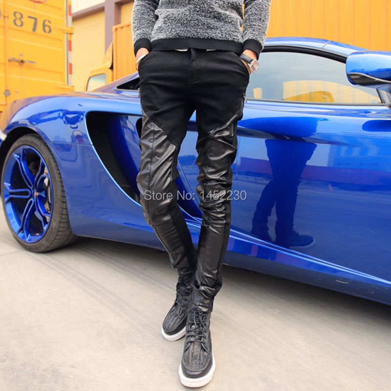 asap rocky mens drop crotch pants slim fit baggy skinny leather biker jeans patches tight pure male patchwork boy denim trousers(China (Mainland))