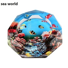 2015 new creative sea world pattern  K9 crystal ashtray round glass Cigarette Cylinder free shipping(China (Mainland))