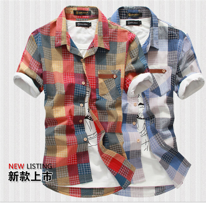 2015 Top Plaid Shirts Men Shirts Men Clothes Men Shirt Short Sleeve Summer Style Casual Turn-down Collar Single Breasted Lzc-161