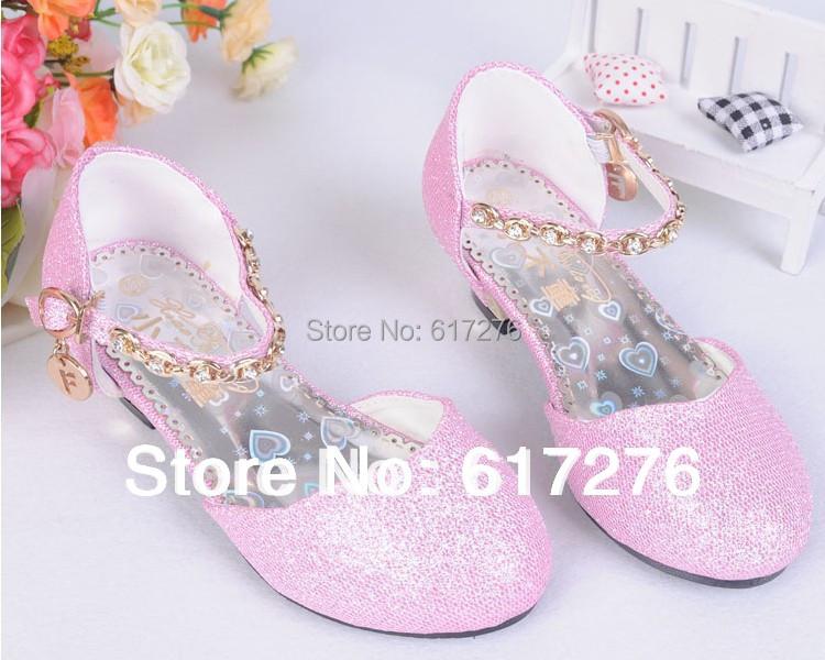 2015 princess girls sandals Children high heels shoes children mary jane dress pink,gold, silver ,blue - Hello Club Online Store store