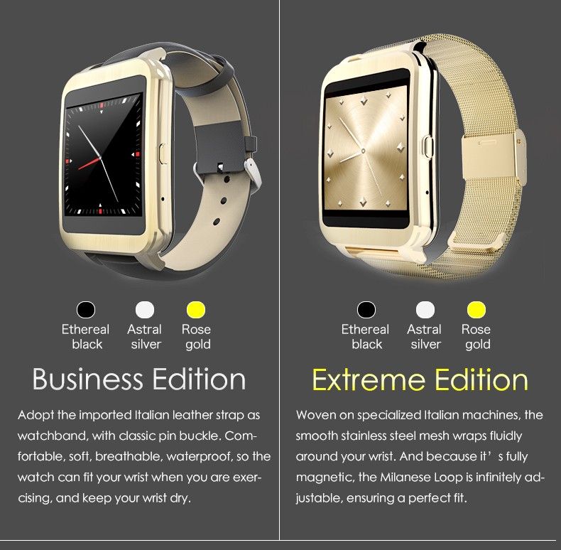 6 colours WIFI Smart Watch 1.54'' Touch Screen Bluetooth 4.0 Smartwatch for Android IOS(China (Mainland))