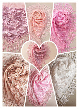 Free shipping Female 2015 triangle scarf solid color all-match silk scarf lace patchwork scarf woman cape