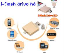 I — FlashDrive HD usb-флеш-накопитель 100% 64 гб телефон OTG для iphone 6 / 5 / ipad / ipod 8 гб 16 гб 32 гб ручка диски